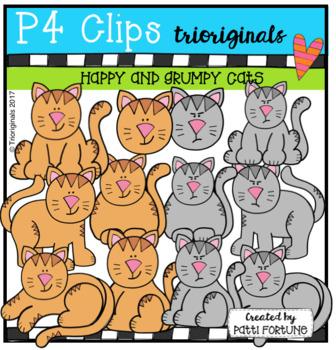 Happy and Grumpy Cats (p4 Clips Trioriginals Clips Art)