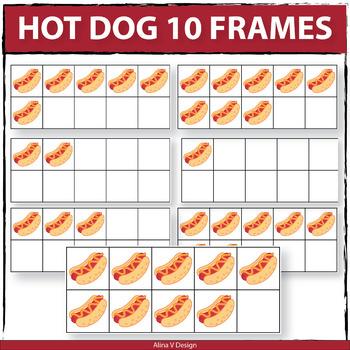Hot Dog 10 Frames Clip Art