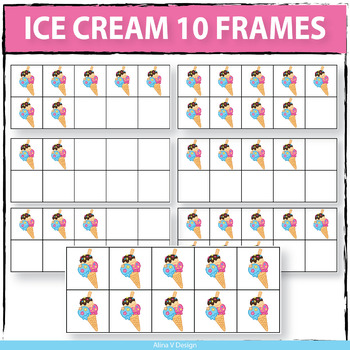 Ice Cream 10 Frames Clipart
