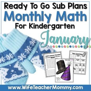January Emergency Sub Plans Math for Kindergarten. Winter Activities