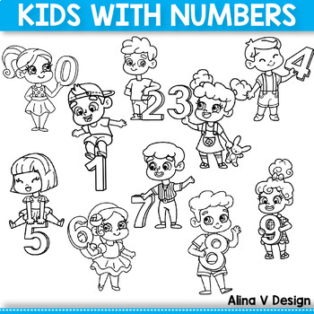 #twosunnydeals Kids with Numbers, Kids Holding Numbers Clipart