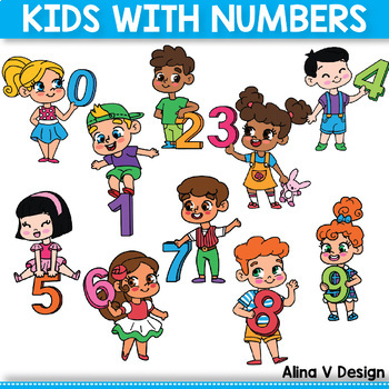 Kids with Numbers, Kids Holding Numbers Clipart 0 to 10
