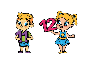 Kids with Numbers, Kids Holding Numbers Clipart 11 to 20