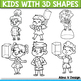 Kids Holding 3 D Shapes Clipart