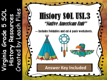 **50%OFF LIMITED TIME** GRADE 5 VIRGINIA HISTORY USI.3 RESOURCES