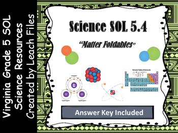 GRADE 5 VIRGINIA SCIENCE SOL 5.4 MATTER FOLDABLES