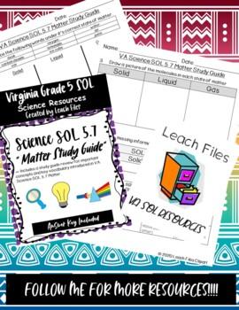 grade 5 virginia science sol 5 4 matter study guide by leach files rh teacherspayteachers com GRE Study Guide VA Studies SOLPass