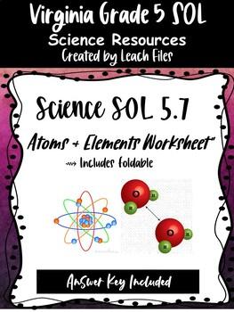 SOL 5.4C ATOMS-ELEMENTS WORKSHEET