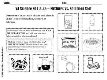 SOL 5.4E MIXTURES-SOLUTIONS WORKSHEET