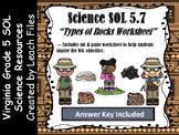 5th Grade VA SOL 5.7B TYPES OF ROCKS WORKSHEET