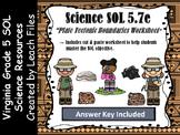 5th Grade VA SOL 5.7E PLATE TECTONIC BOUNDARIES WORKSHEET