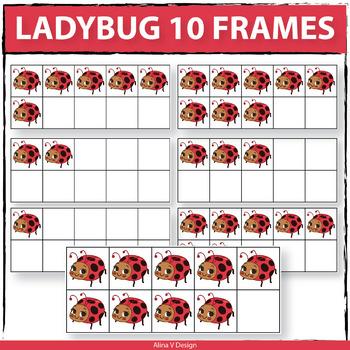 Ladybug 10 Frames - Clipart