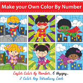 Make Your Own Color By Number, Color By Code - Superhero Theme