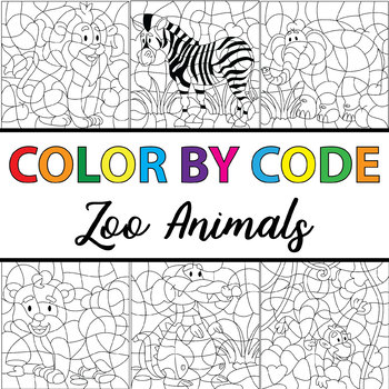 Make Your Own Color By Number Zoo Animals