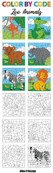 Color By Code Clipart - Zoo Animals