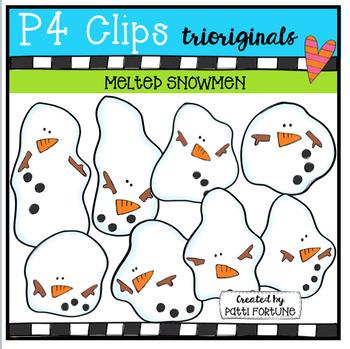 Melted Snowmen (P4 Clips Trioriginals Digital Clip Art)