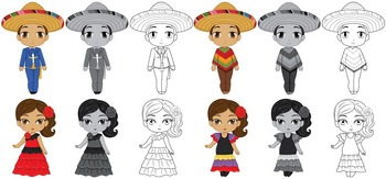Mexican Kids wearing Traditional Outfits Clip Art