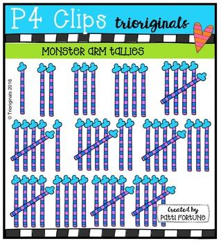 Monster Arm Tallies {P4 Clips Trioriginals Digital Clip Art}
