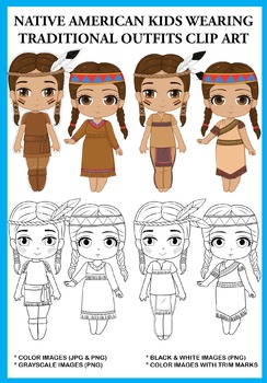 Native American Kids wearing Traditional Outfits Clip Art
