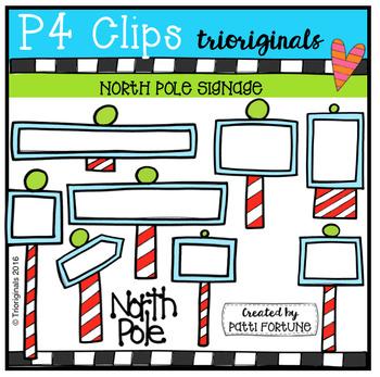 North Pole Signage (P4 Clips Trioriginals Digital Clip Art)