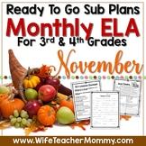 November Sub Plans ELA for 3rd, 4th Grades. Thanksgiving No Prep Activities