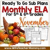 November Sub Plans ELA for 5th, 6th Grades. Thanksgiving No Prep