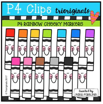 P4 CHEEKY RAINBOW Markers (P4 Clips Trioriginals Clip Art)