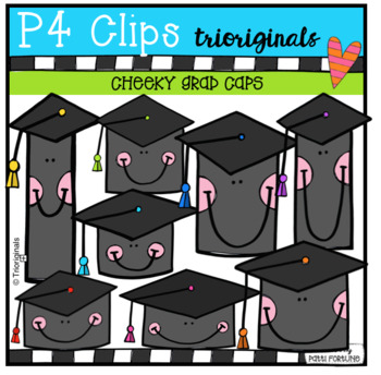 P4 CHEEKY Grad Caps (P4 Clips Trioriginals Clip Art)