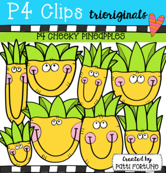 P4 CHEEKY Pineapples (P4 Clips Trioriginals Clip Art)