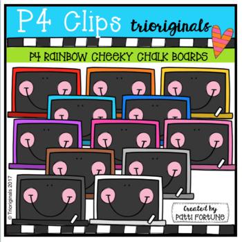 P4 CHEEKY RAINBOW Chalk Boards (P4 Clips Trioriginals Clip Art)