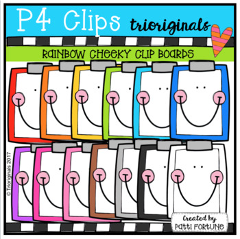 P4 CHEEKY RAINBOW Clip Boards (P4 Clips Trioriginals Clip Art)