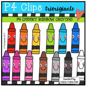 P4 CHEEKY RAINBOW Crayons (P4 Clips Trioriginals Clip Art)