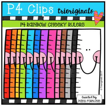P4 CHEEKY RAINBOW Rulers (P4 Clips Trioriginals Clip Art)
