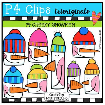 P4 CHEEKY Snowmen (P4 Clips Trioriginals Digital Clip Art)