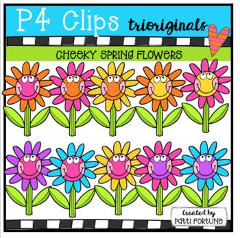 P4 CHEEKY Spring Flowers (P4 Clips Trioriginals Clip Art)