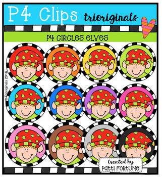 P4 CIRCLES Elves (P4 Clips Trioriginals Digital Clip Art)