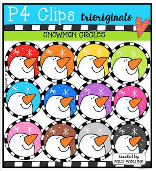 P4 CIRCLES Snowmen (P4 Clips Trioriginals Digital Clip Art)