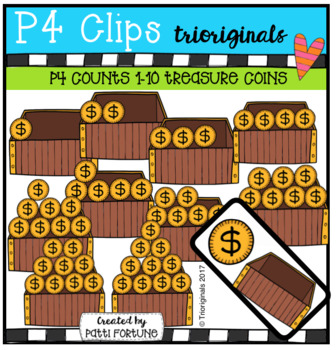 P4 COUNTS 1-10 Chest Full of Coins (P4 Clips Trioriginals Clip Art)