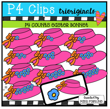 P4 COUNTS 1-10  Easter Bonnets (P4 Clips Trioriginals Clip Art)