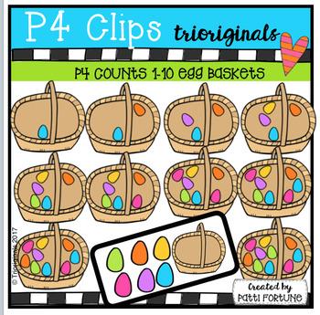 P4 COUNTS 1-10 Eggs in a Basket (P4 Clips Trioriginals Clip Art)