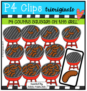 P4 COUNTS 1-10 Sausages on the Grill (P4 Clips Trioriginals Clip Art)
