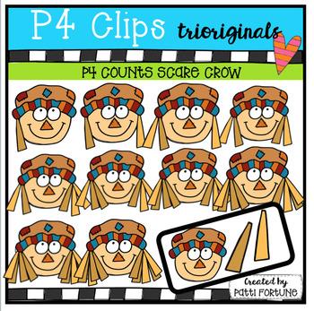 P4 COUNTS 1-10 Scare Crows (P4 Clips Trioriginals Clip Art)
