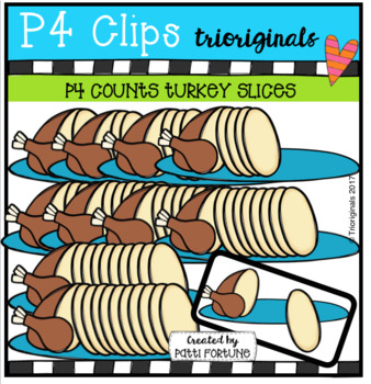 P4 COUNTS 1-10 Turkey Slices (P4 Clips Trioriginals CLip Art)
