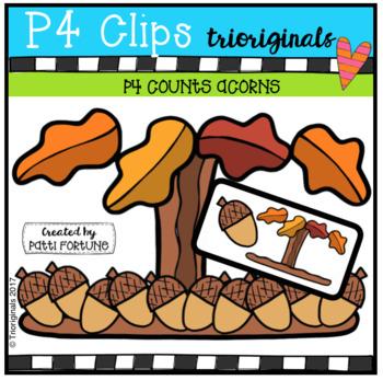 P4 COUNTS Acorns (P4 Clips Trioriginals Clip Art)