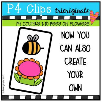 P4 COUNTS 1-10 Bees on Flowers (P4 Clips Trioriginals Clip Art)