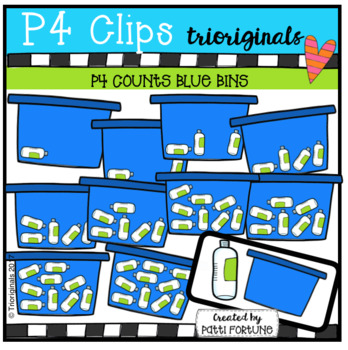 P4 COUNTS Blue Bin (P4 Clips Trioriginals Clip Art)