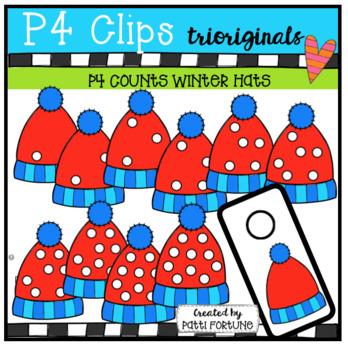 P4 COUNTS Dots on Hats (P4 Clips Trioriginals Clip Art)