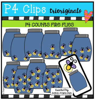 P4 COUNTS 1-10 Fire Flies in Jars (P4 Clips Trioriginals Clip Art)