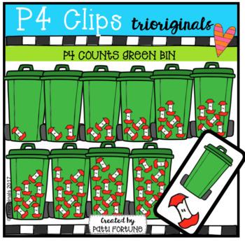 P4 COUNTS Green Bin (P4 Clips Trioriginals Clip Art)
