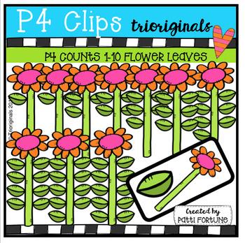 P4 COUNTS 1-10 Leaves on Flowers (P4 Clips Trioriginals Clip Art)
